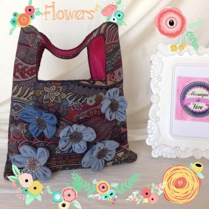 mosaique de vero, mosaiquedevero, sac, bolso, sac à main, sac à main fleurs, bolso flores, sac à main tissu, bolso tela, handmade, sac à main toulouse,