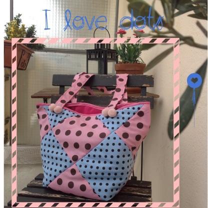 sac à main, sac, bag, handbag, bolso, sac en tissu, sac à main originail, sac à main toulouse, grand sac, bolso grande, sac à main à pois, dots, bag dots, bolso con lunares