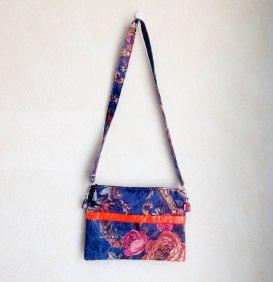 mosaique de vero , mosaiquedevero, sac, sac à main, fleurs, flores, bolso, tela, tissu, toulouse, créatrice, orange, bleu, gris