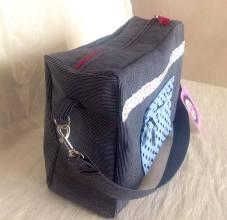mosaiquedevero, mosaique de vero, créateur, toulouse, france, grand sac, sac pour travailler, jean, bolso grande para trabajar, bolso, vaquero, pois, dots, topos, personnalisation, customisation