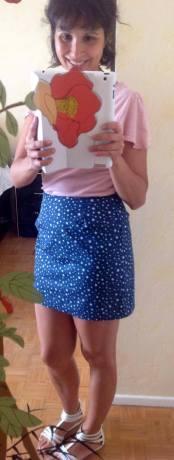 mosaique de vero, mosaiquedevero, mini-jupe, jupe, falda, mini-falda, estrellas, étoiles, bleu, azul, été, verano, falda recta, jupe droite