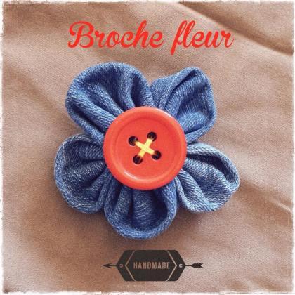 broche, fleur, flor, mosaique de vero, couture, vaquero, fleur en jean, bouton orange, enfants, amusant, handmade